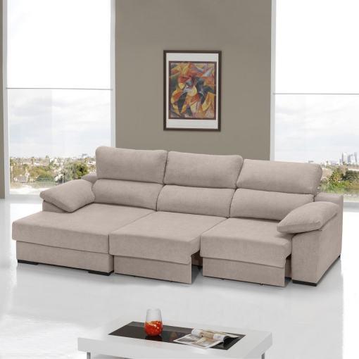 Sofá cama con asientos deslizantes color camel (beige). Chaise longue lado izquierdo - Alicante