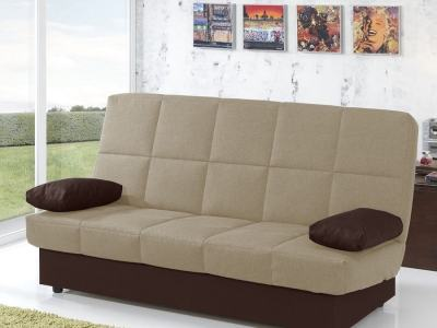 Inexpensive Folding Sofa Bed. Beige Fabric, Brown Cushions. Fortuna