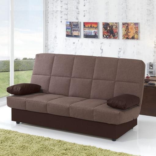 Sofá cama libro económico. Tela marrón (asiento) marrón oscuro (cojines). Fortuna