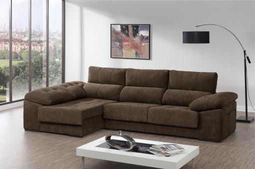 Sofá chaiselongue con asientos deslizantes, arcón y 2 pufs - Murcia. Color marrón. Chaiselongue lado izquierdo