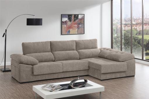 Sofá chaiselongue con asientos deslizantes, arcón y 2 pufs - Murcia. Tela beige. Chaiselongue lado derecho