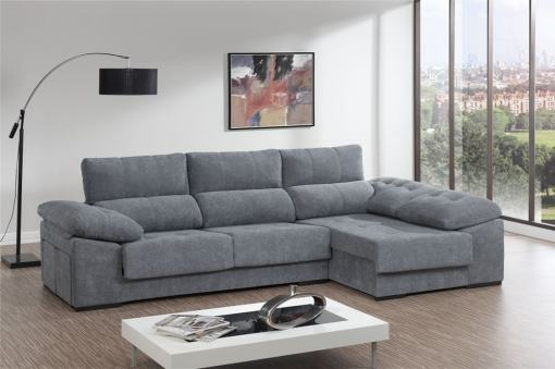 Sofá chaiselongue con asientos deslizantes, arcón y 2 pufs - Murcia. Tela gris. Chaiselongue lado derecho