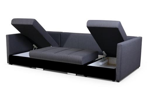 Arcones abiertos. Sofá en forma de U pequeño con cama, 2 chaise longues y 3 arcones - Bora. Tela gris, polipiel negra