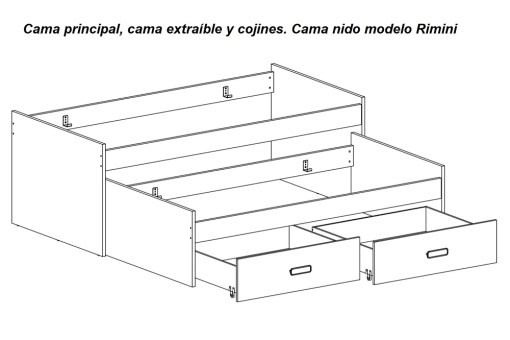 Cama principal, cama extraíble y cajones del cama nido modelo Rimini