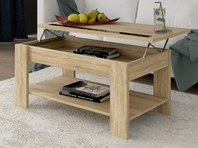 Brown Lift up Coffee Table with Shelf Underneath – Ayora