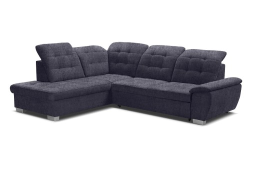 Adjustable Headrests. Corner Sofa with High Backrest, Reclining Headrests, Bed and Storage - Hamilton