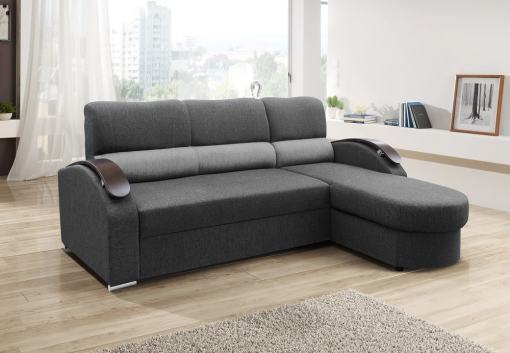 Chaise Longue Sofa Bed with Wooden Arms - Padua. Grey Fabric. Corner on the Right