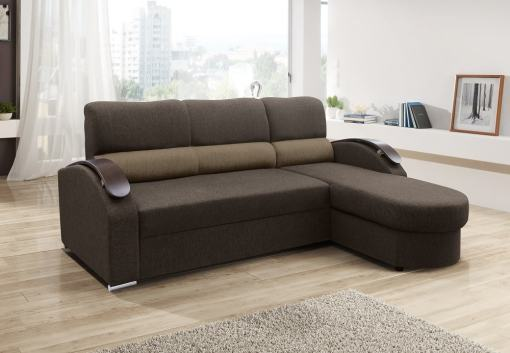 Chaise Longue Sofa Bed with Wooden Arms - Padua. Brown Fabric. Corner on the Right