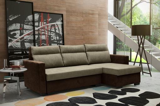 """Угловой диван-кровать с системой """"лёгкая транcформация"""" - Edmonton. Коричневый цвет. Правый угол"""