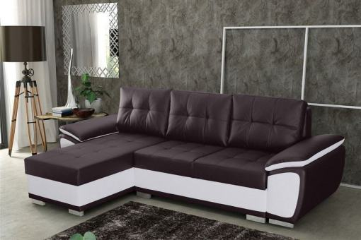 Chaise Longue Sofa Bed in Faux Leather - Kingston. Brown and White Faux Leather. Left Corner