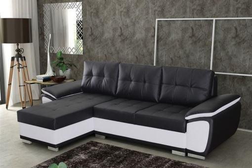 Sofá chaise longue cama en polipiel negra y blanca - Kingston. Chaise longue lado izquierdo