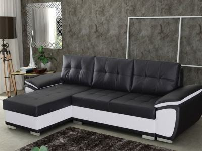 Chaise Longue Sofa Bed in Faux Leather - Kingston. Black and White Faux Leather. Left Corner