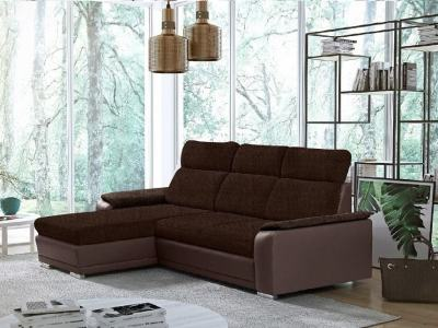 Brown Fabric and Brown Faux Leather Chaise Longue Sofa with Pull-out Bed – Vancouver. Left Corner