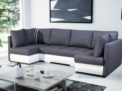 Small U-shaped Sofa with Bed, 2 Chaise Longues, 3 Storages - Bora. Grey fabric, white faux leather