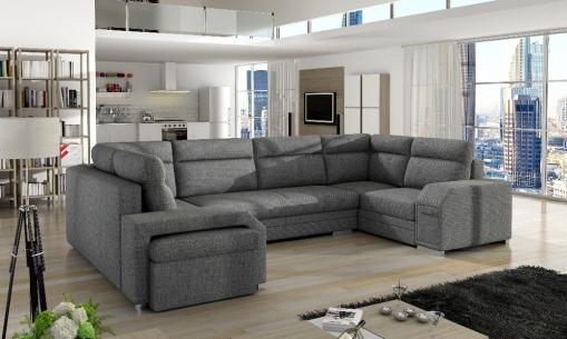 Spacious U-shaped Sofa Bed with 3 Storages - Baia. Grey Fabric. Left Corner