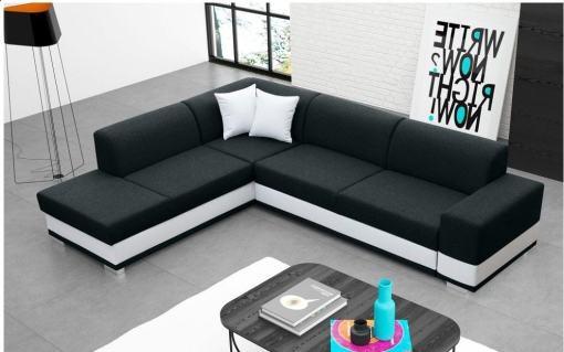 Modern Corner Sofa Bed with Cushions (Left Corner) - Barbados. Black Fabric