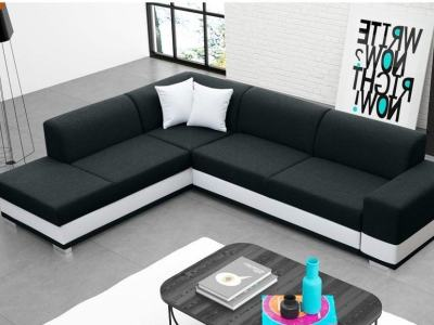Modern Corner Sofa Bed with Cushions (Left Corner) - Barbados. Black Fabric