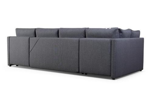 Tapizado detras. Pequeño sofá en forma de U con cama, 2 chaise longues y 3 arcones - Bora