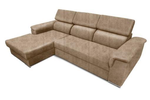 Tela efecto piel Cyro Beige. Chaise longue lado izquierdo. Sofá chaise longue cama, máximo confort - Hamburg