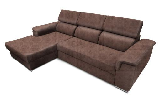 Tela efecto piel Cyro Choco. Chaise longue lado izquierdo. Sofá chaise longue cama, máximo confort - Hamburg