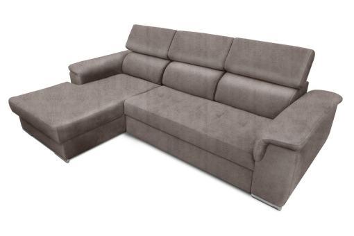 Tela efecto piel Cyro Plomo. Chaise longue lado izquierdo. Sofá chaise longue cama, máximo confort - Hamburg