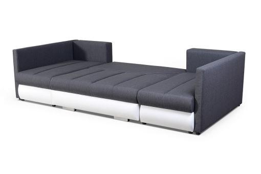 Transformado en cama. Sofá en forma de U pequeño con cama, 2 chaise longues y 3 arcones - Bora