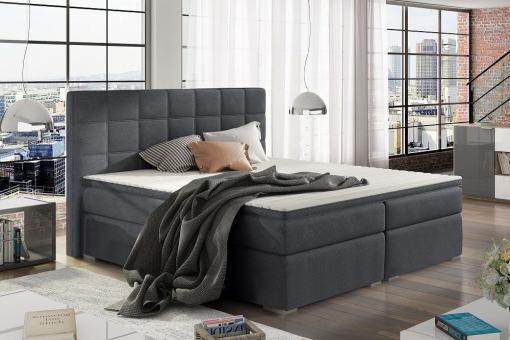 Двуспальная кровать 160 x 200 см с системой хранения - Isabella. Тёмно-серая ткань