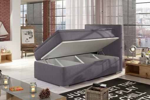 Right Side Opening. Grey Fabric (Soro 93). Single Storage Bed Upholstered in Fabric, 90 x 200 cm - Amelia