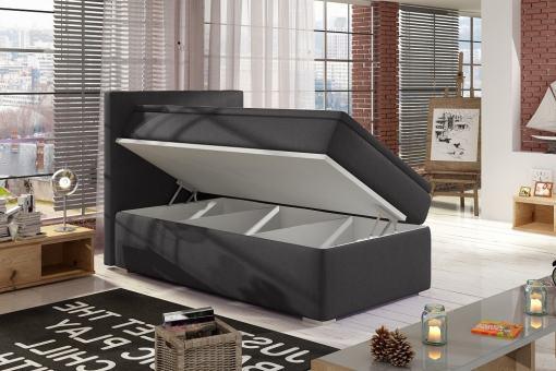 Left Side Opening. Dark Grey Fabric (Soro 95). Single Storage Bed Upholstered in Fabric, 90 x 200 cm - Amelia