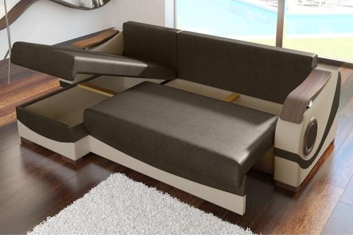 Cama y arcón abiertos de sofá modelo Leeds