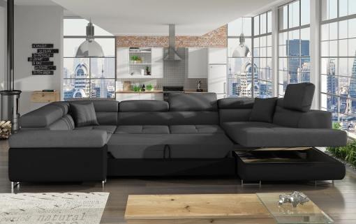 Cama y arcón abiertos del sofá en U moderno (2 chaiselongs) modelo Coventry