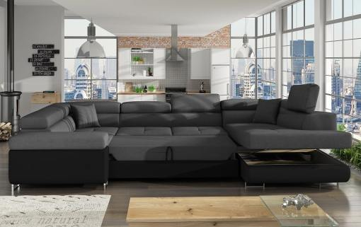 Bed and Storage of the Modern U-shaped Sofa (2 Chaise Longues) with Bed and Storage - Coventry
