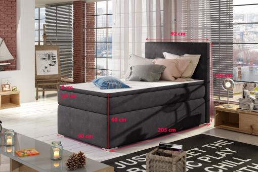 Medidas de cama tapizada individual 90 x 200 cm - Amelia