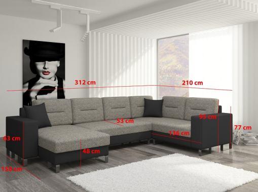 Medidas del sofá en U económico con cama y 2 arcones - Bristol