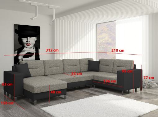 Dimensions of the U-shaped Sofa with Pull-out Bed - Bristol