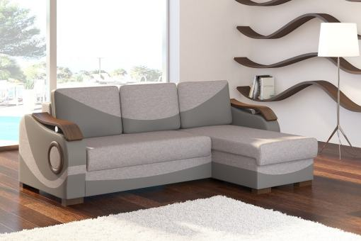 Chaise Longue Sofa with Pull-out Bed and Wooden Armrests - Leeds. Grey Fabric and Faux Leather. Corner on the Right