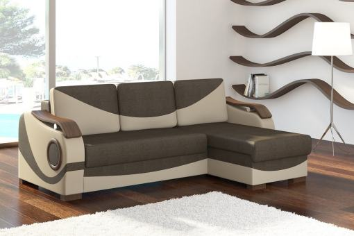 Sofá chaise longue cama con reposabrazos de madera - Leeds. Tela marrón (Sawana 16) - Polipiel beige ( Soft 33). Chaise longue lado derecho