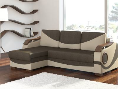 Chaise Longue Sofa with Pull-out Bed and Wooden Armrests - Leeds. Brown Fabric. Beige Faux Leather. Corner on the Left