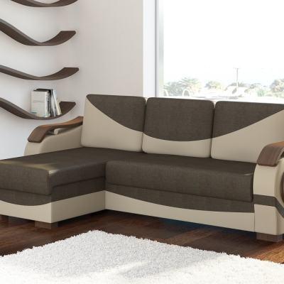 Sofá chaise longue cama con reposabrazos de madera - Leeds. Tela marrón (Sawana 16) - Polipiel beige ( Soft 33). Chaise longue lado izquierdo