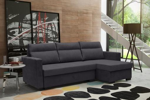 """Угловой диван-кровать с системой """"лёгкая транcформация"""" - Edmonton. Тёмно-серый цвет. Правый угол"""