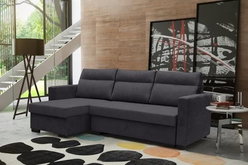 """Угловой диван-кровать с системой """"лёгкая транcформация"""" - Edmonton. Тёмно-серый цвет. Левый угол"""
