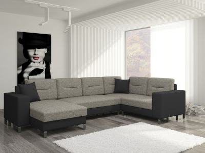 Недорогой П-образный диван-кровать с 2 отделениями для хранения - Bristol. Коричневая ткань. Чёрный кожзаменитель. Правый угол
