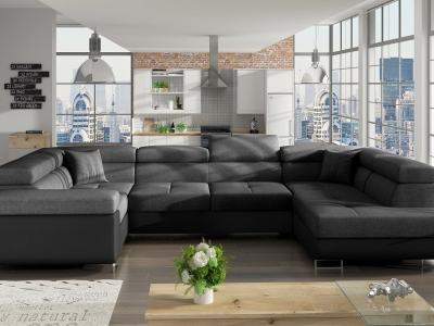 Modern U-shaped Sofa (2 Chaise Longues) with Bed and Storage - Coventry. Dark Grey Fabric. Black Faux Leather. Corner on the Left