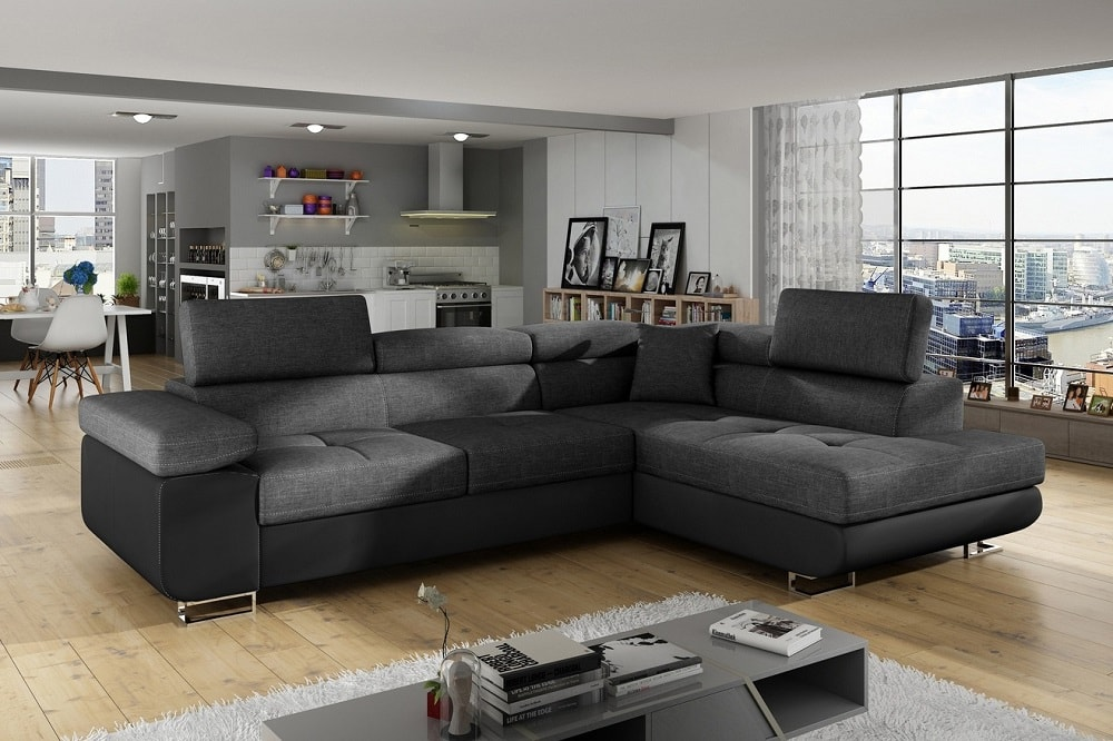 Corner Sofa Bed with Storage Upholstered in Fabric and Synthetic Leather Manchester Don Baraton