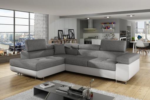 Sofá rinconera cama con arcón y reposacabezas reclinables - Manchester. Esquina lado izquierdo. Colores gris claro (tela inari 91) y piel sintética blanca (soft 17)