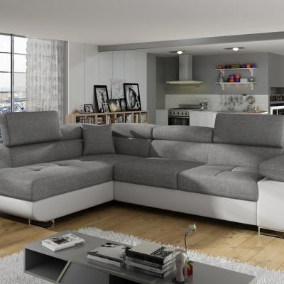 Corner Sofa Bed with Storage Upholstered in Fabric and Synthetic Leather - Manchester. Light Grey Fabric, White Faux Leather. Corner on the Left