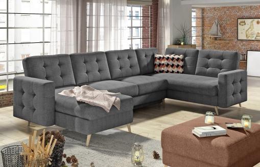 U-shaped Corner Sofa Convertible Into Bed - Copenhagen. Right Corner. Grey Fabric