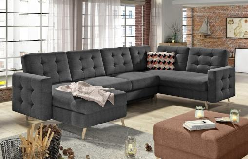 U-shaped Corner Sofa Convertible Into Bed - Copenhagen. Right Corner. Dark Grey Fabric