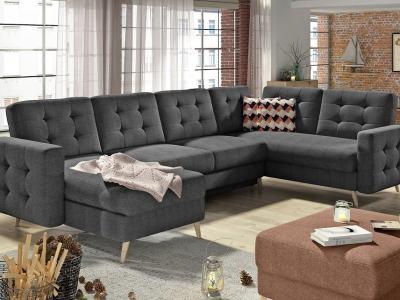 П-образный диван с кроватью и отделением для хранения - Copenhagen. Серая ткань, угол справа