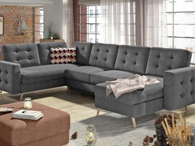 П-образный диван с кроватью и отделением для хранения - Copenhagen. Серая ткань, угол слева